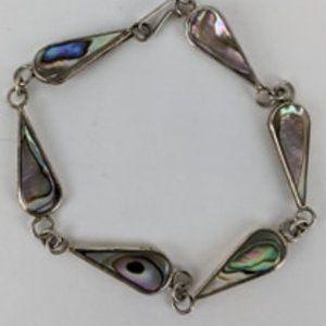 Vintage Silver 925 Abalone Teardrop Bracelet